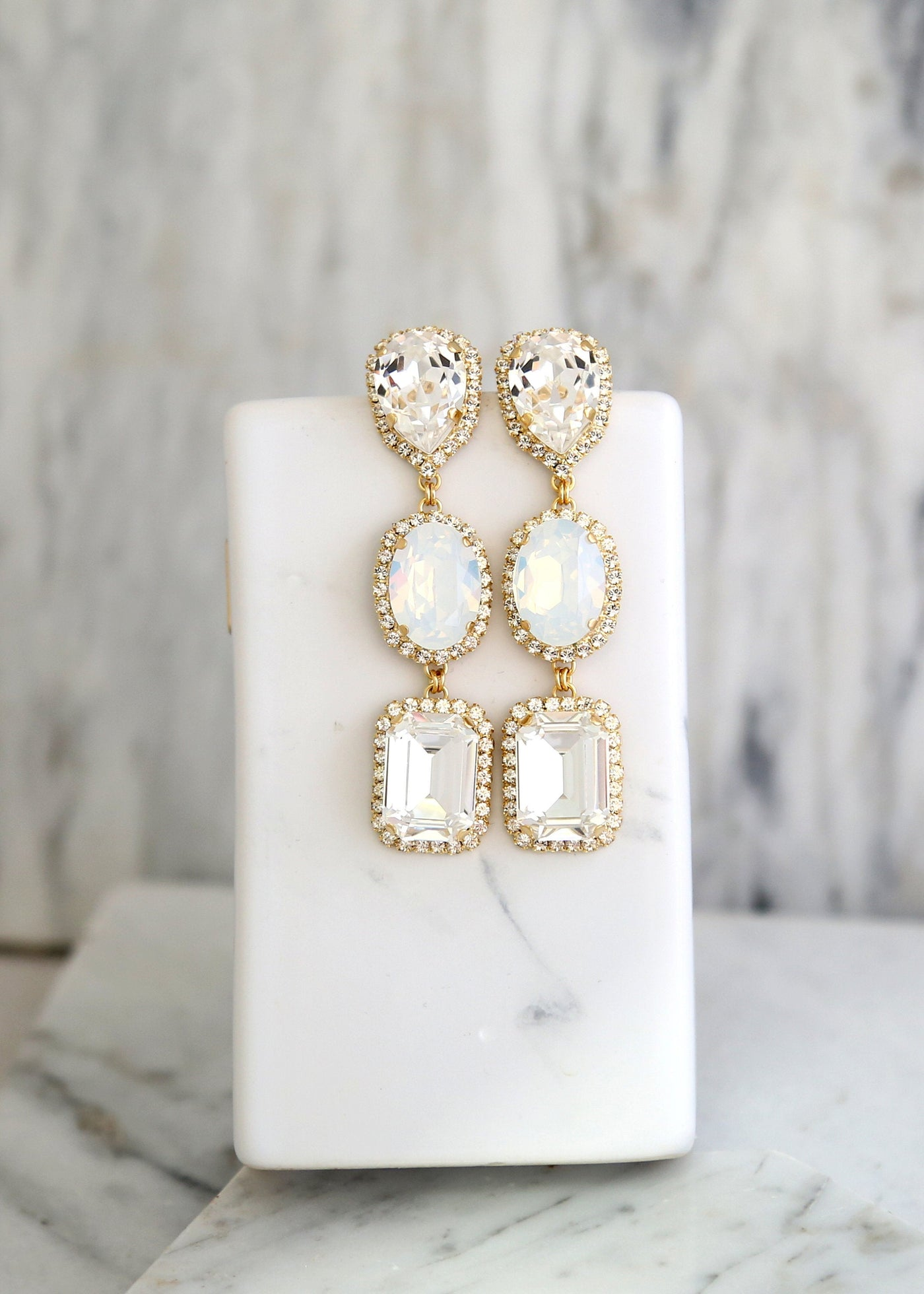 Carol White Opal Clear Crystal Swarovski Chandelier Earrings
