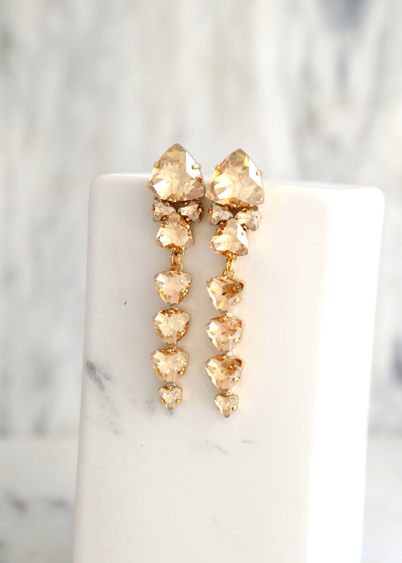 Poli Champagne Crystal Swarovski Chandelier Earrings