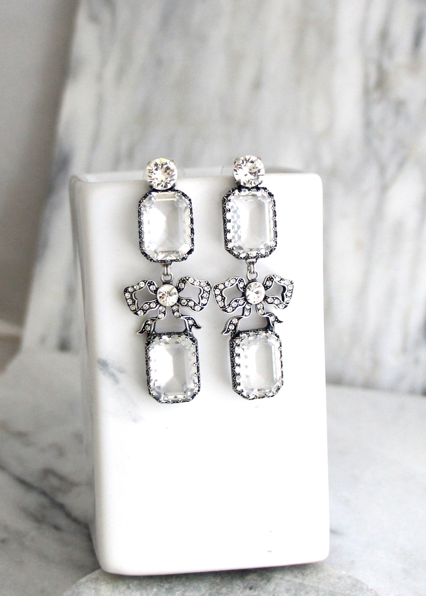 Monica Clear Crystal Swarovski Open Back Chandelier Earrings