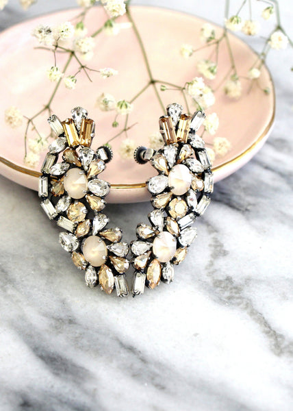 Giti Ivory Cream Crystal Swarovski Climbing Earrings