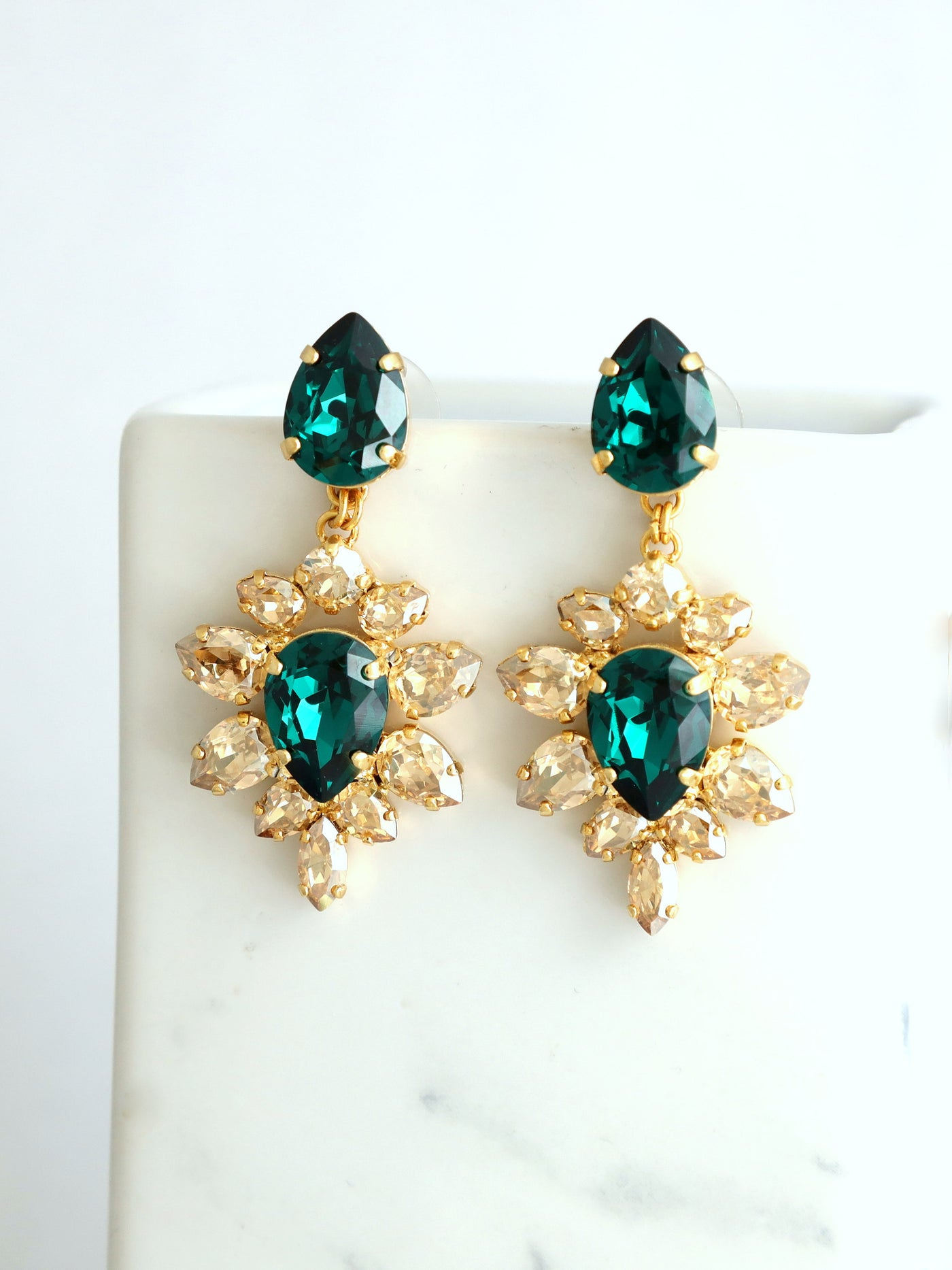 Alma Emerald Champagne Crystal Swarovski Chandelier Earrings