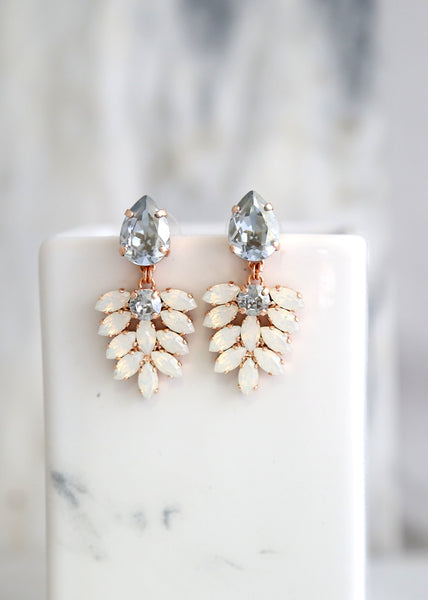 Carmen Dusty Blue White Opal Crystal Swarovski Chandelier Earrings