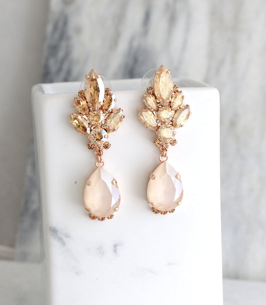 Diana Ivory Cream Champagne Crystal Swarovski Chandelier Earrings