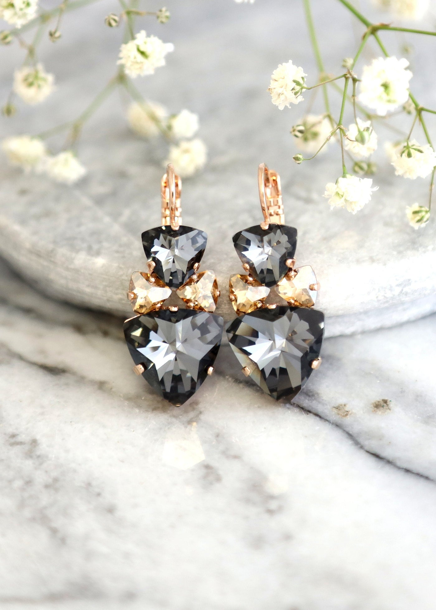 Nala Grey Champagne Crystal Swarovski Dangle Drop Earrings