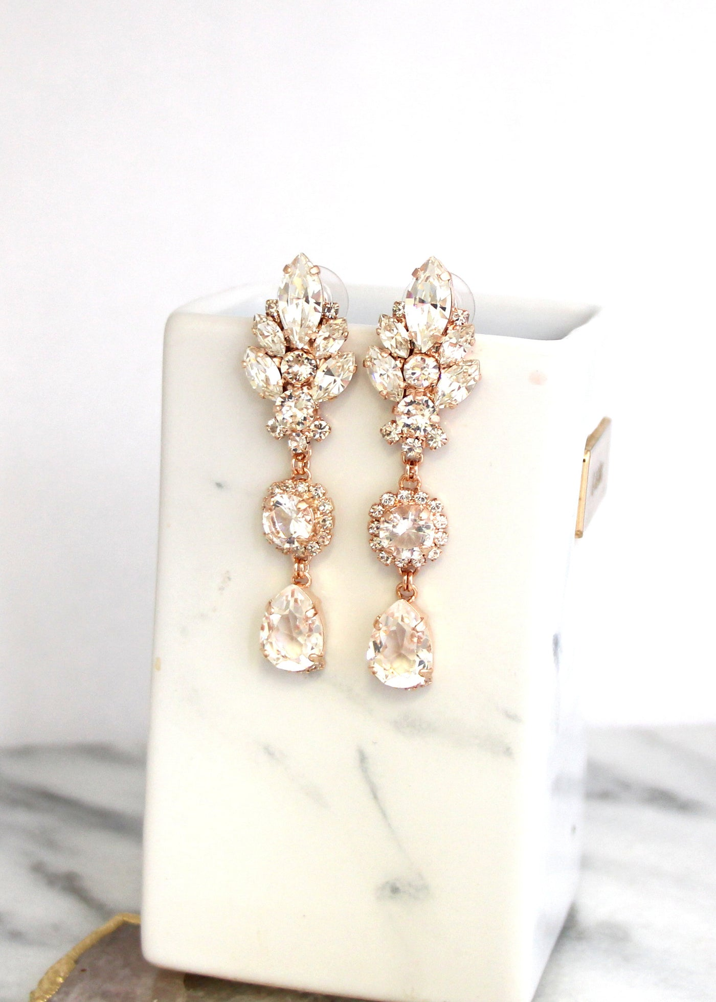Diana Clear Crystal Swarovski Long Chandelier Earrings