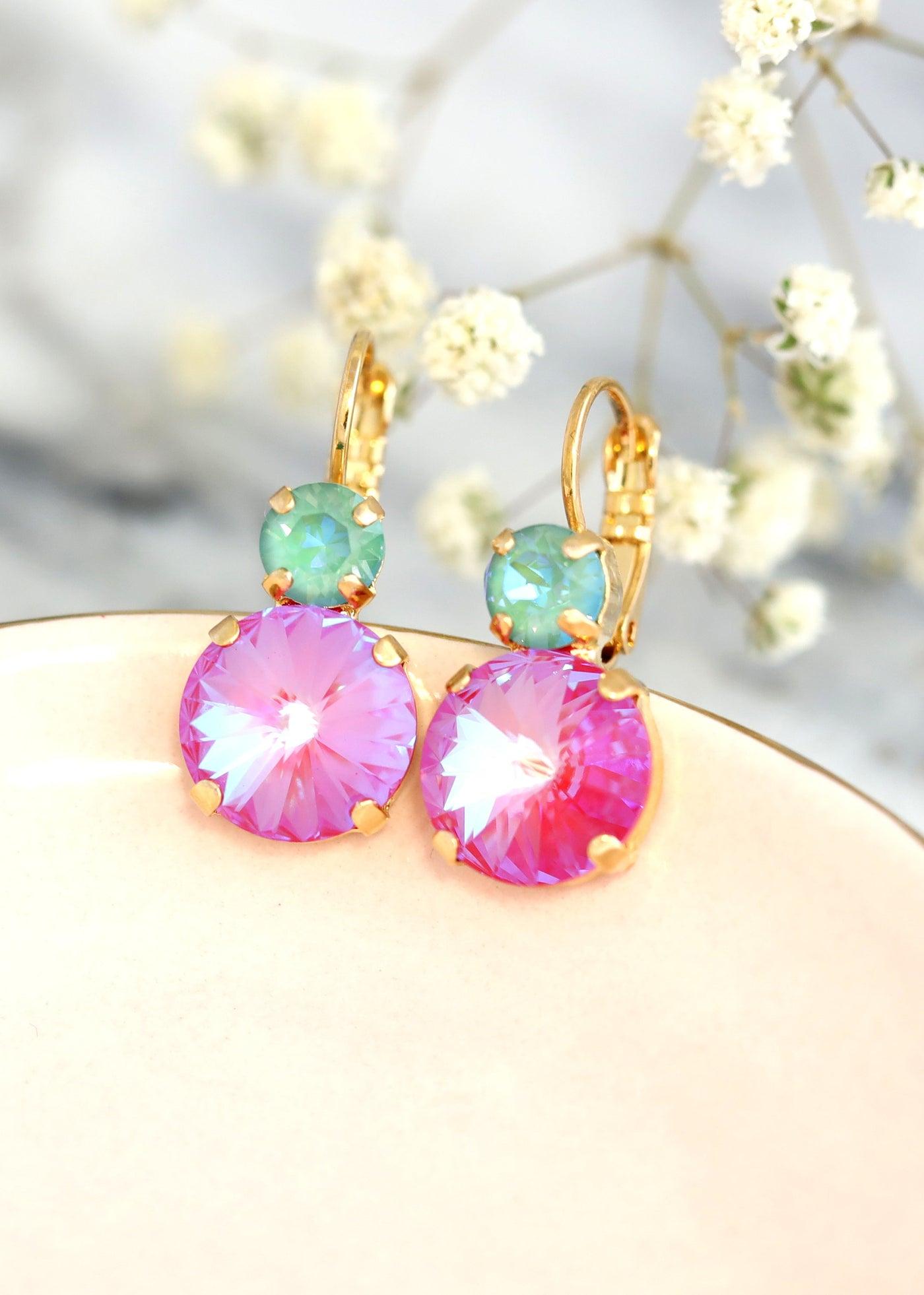 Pink Green Earrings, Red Pink Earrings, Pink Green Drop Earrings, Pink Swarovski Crystal Earrings, Pink Swarovski Crystal Leverback Earrings