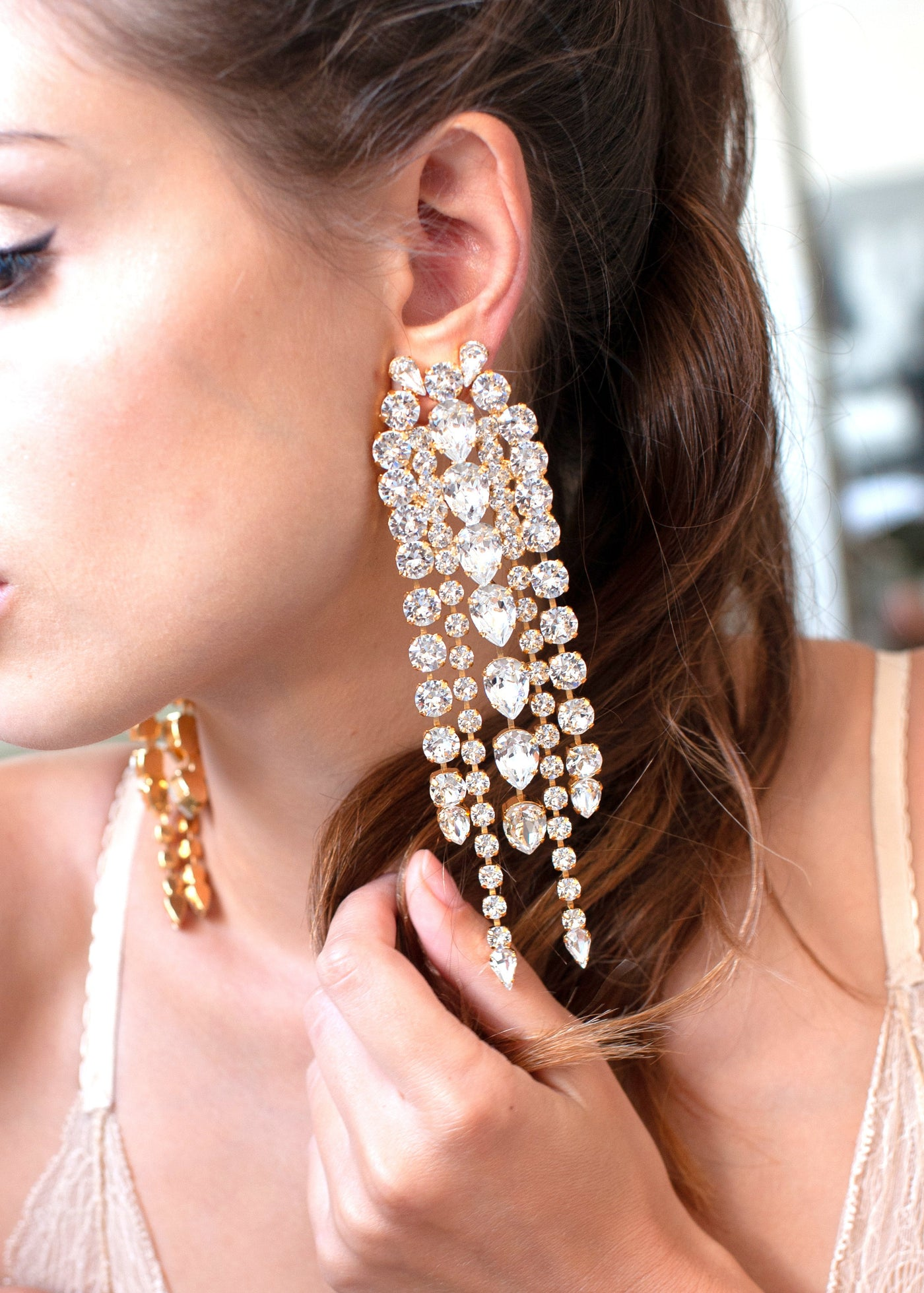 Liza Clear Crystal Swarovski Oversize Chandelier Earrings