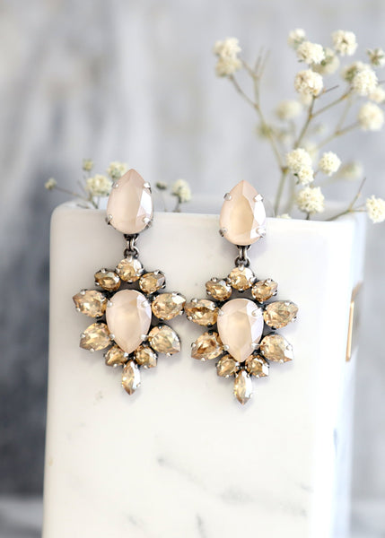 Alma Ivory Cream Champagne Crystal Swarovski Chandelier Earrings