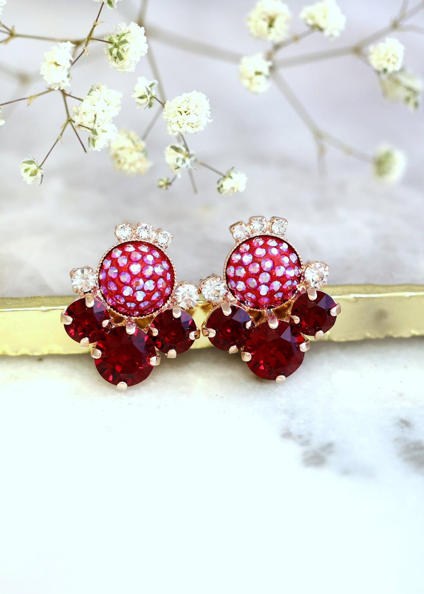 June Ruby Crystal Swarovski Cluster Earrings