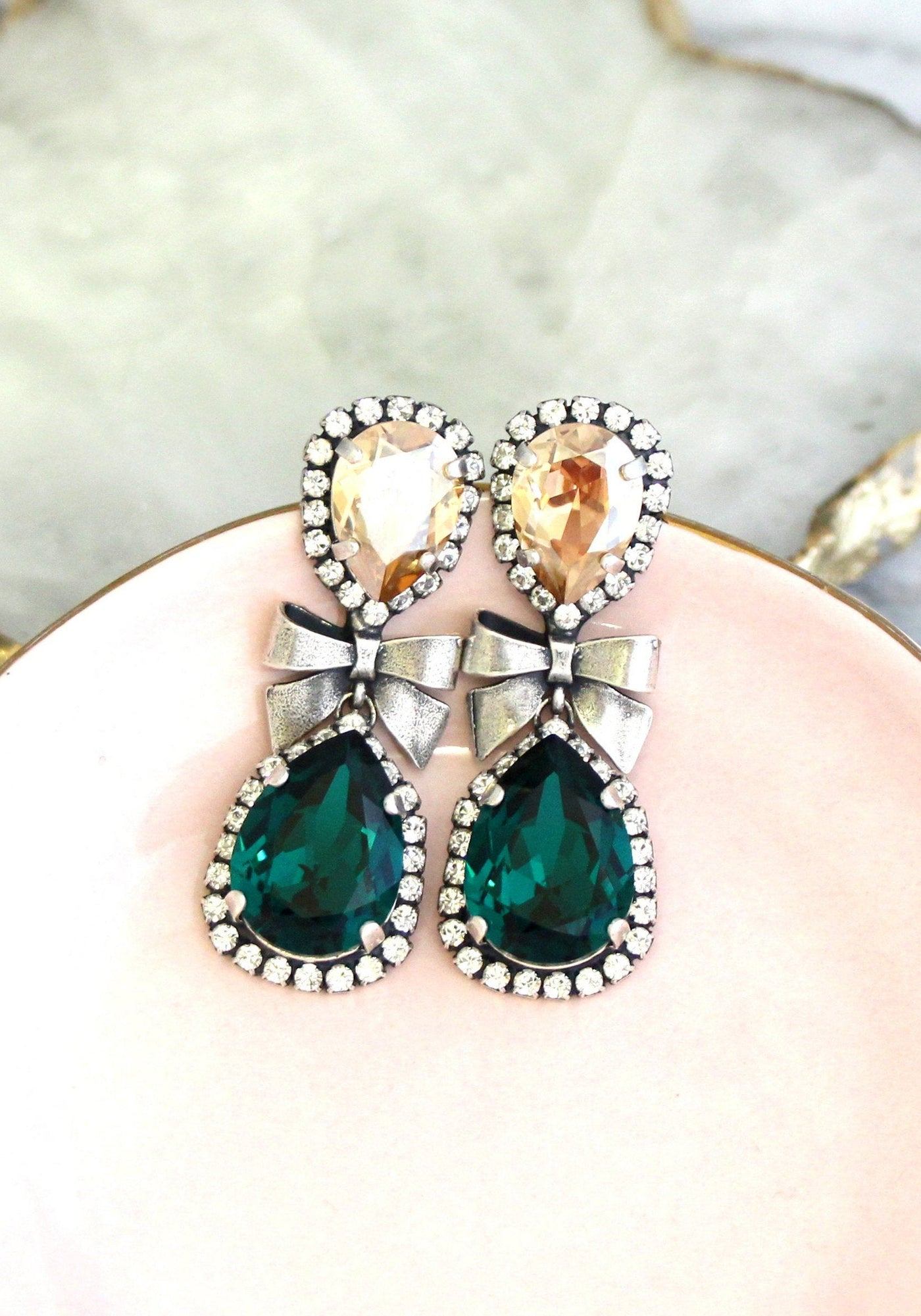 Bow Emerald Champagne Crystal Swarovski Chandelier Earrings