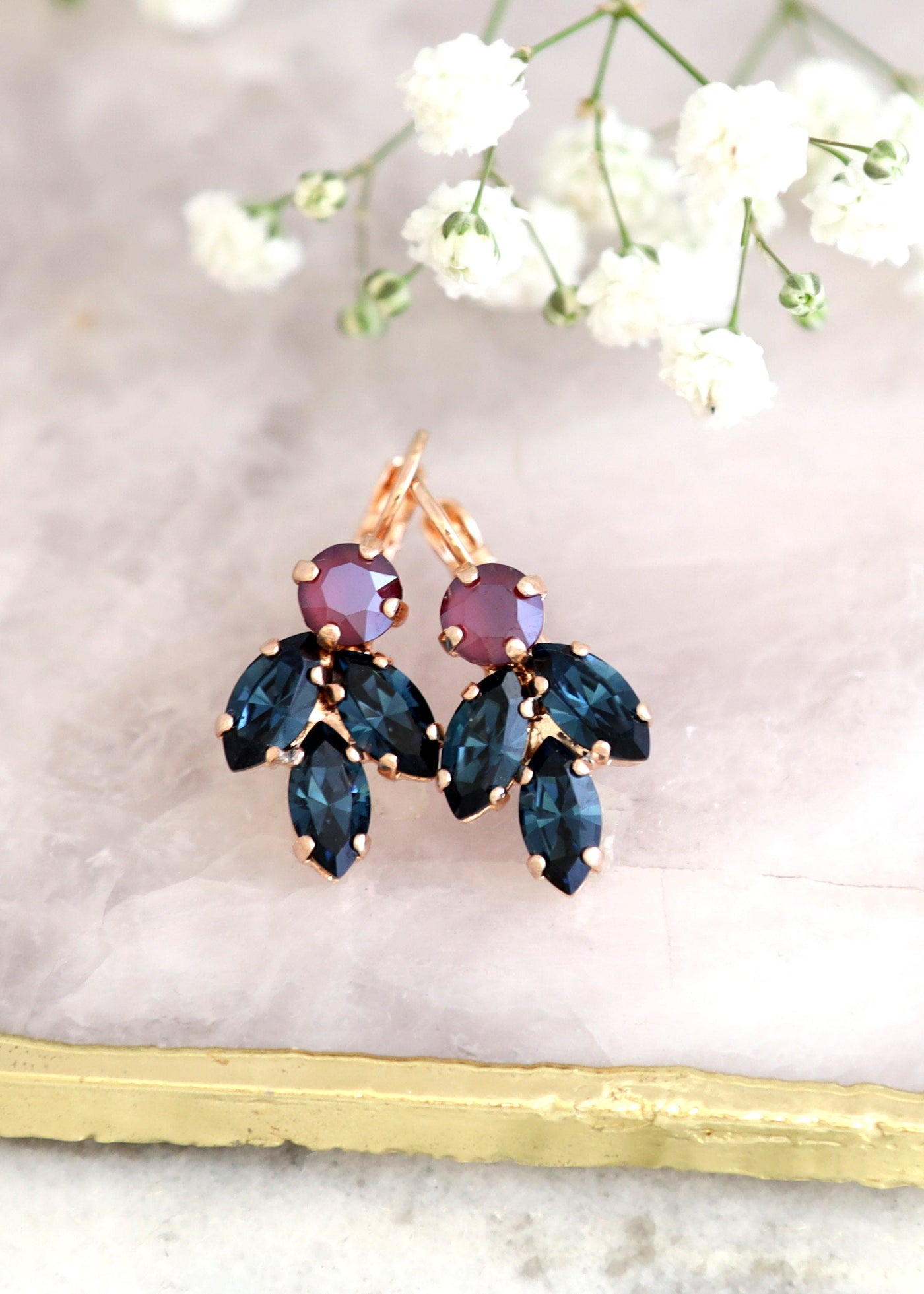 Juliet Marron Blue Navy Crystal Swarovski Dangle Drop Earrings