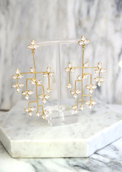Elise Clear Crystal Swarovski Chandelier Earrings