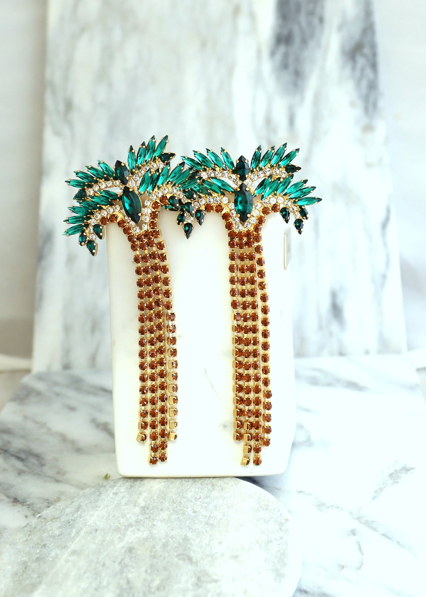 Palm Tree Crystal Swarovski Long Statement Earrings
