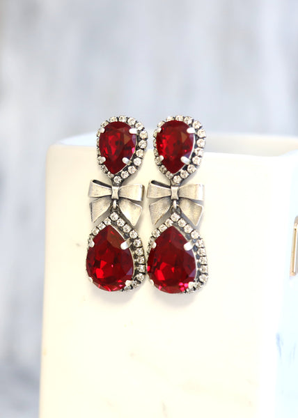 Bow Rubi Red Crystal Swarovski Chandelier Earrings