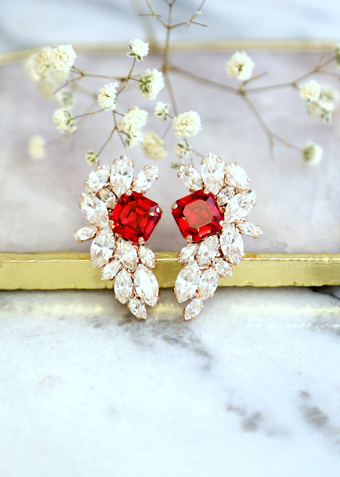 Rachel Red Clear Crystal Swarovski Cluster Earrings