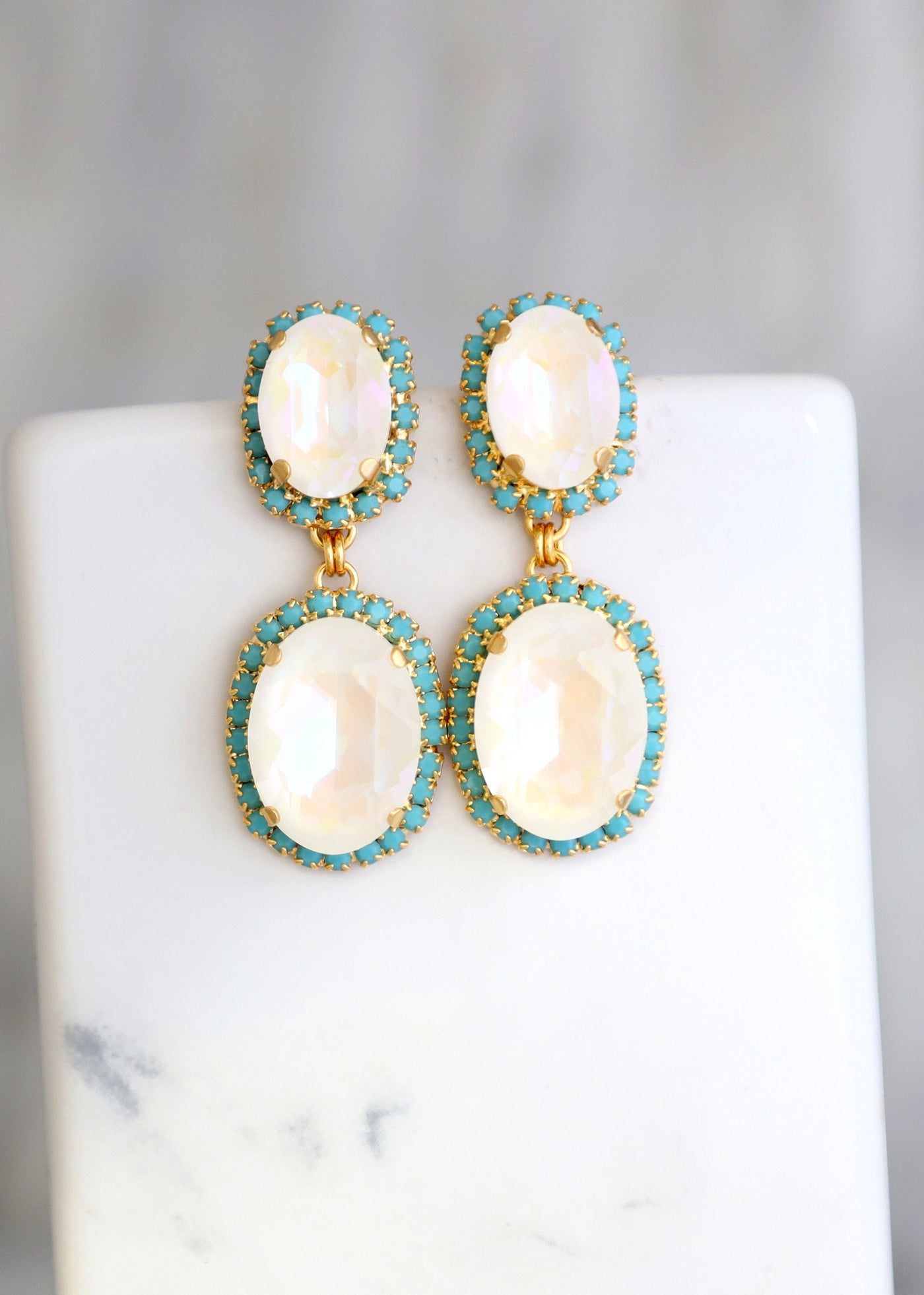 White Opal Earrings, Bridal White Opal Drop Earrings, Bridal Turquoise Chandelier Earrings, Bridal Crystal Earrings, Something Blue