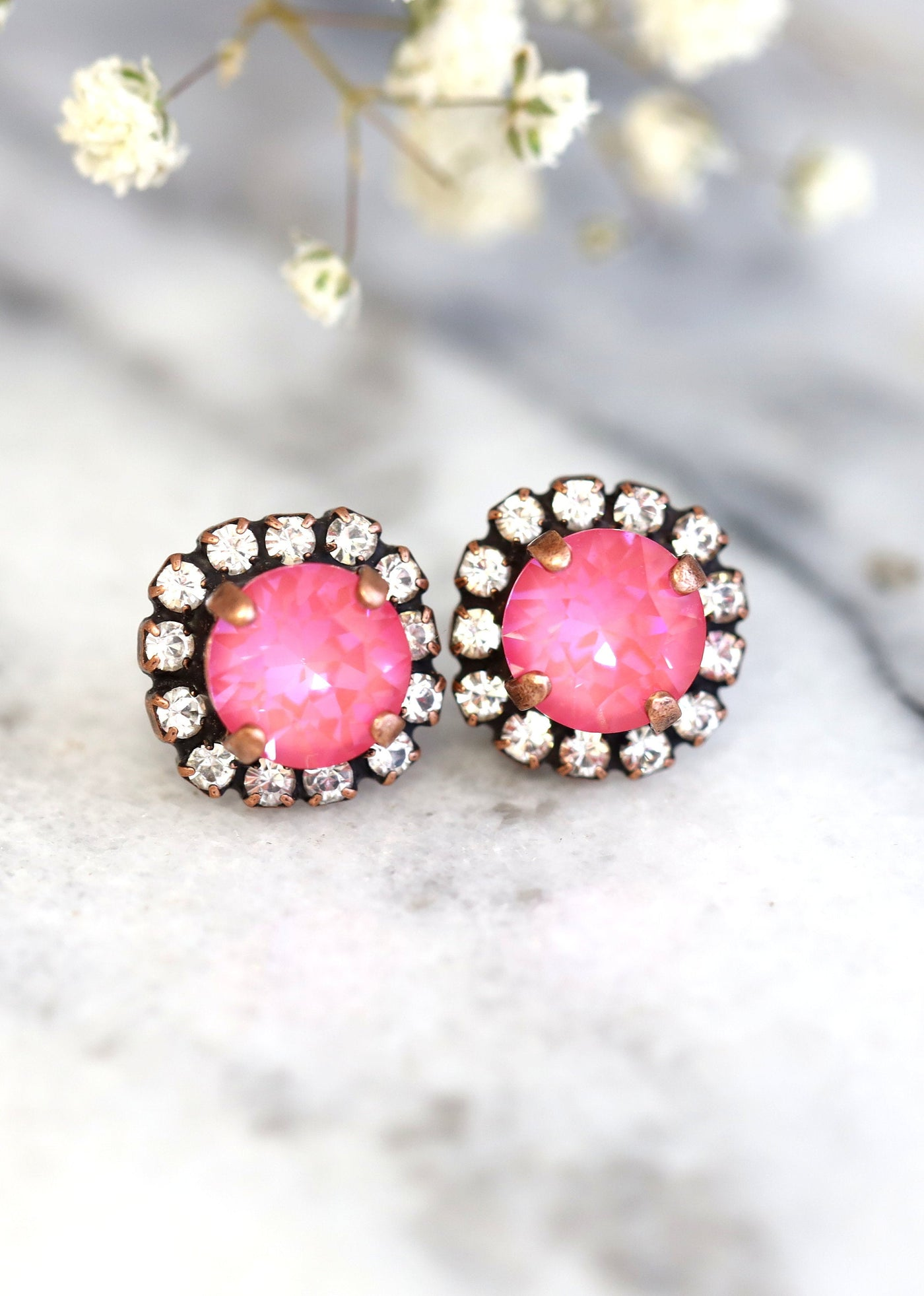 Jenny Hot Pink Crystal Swarovski Stud Earrings