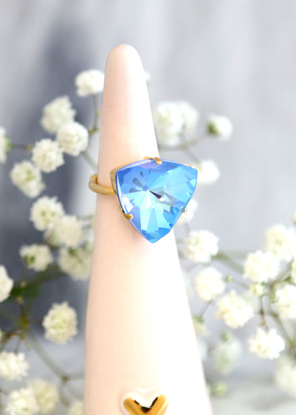 Noa Blue Ocean Crystal Swarovski Cocktail Ring