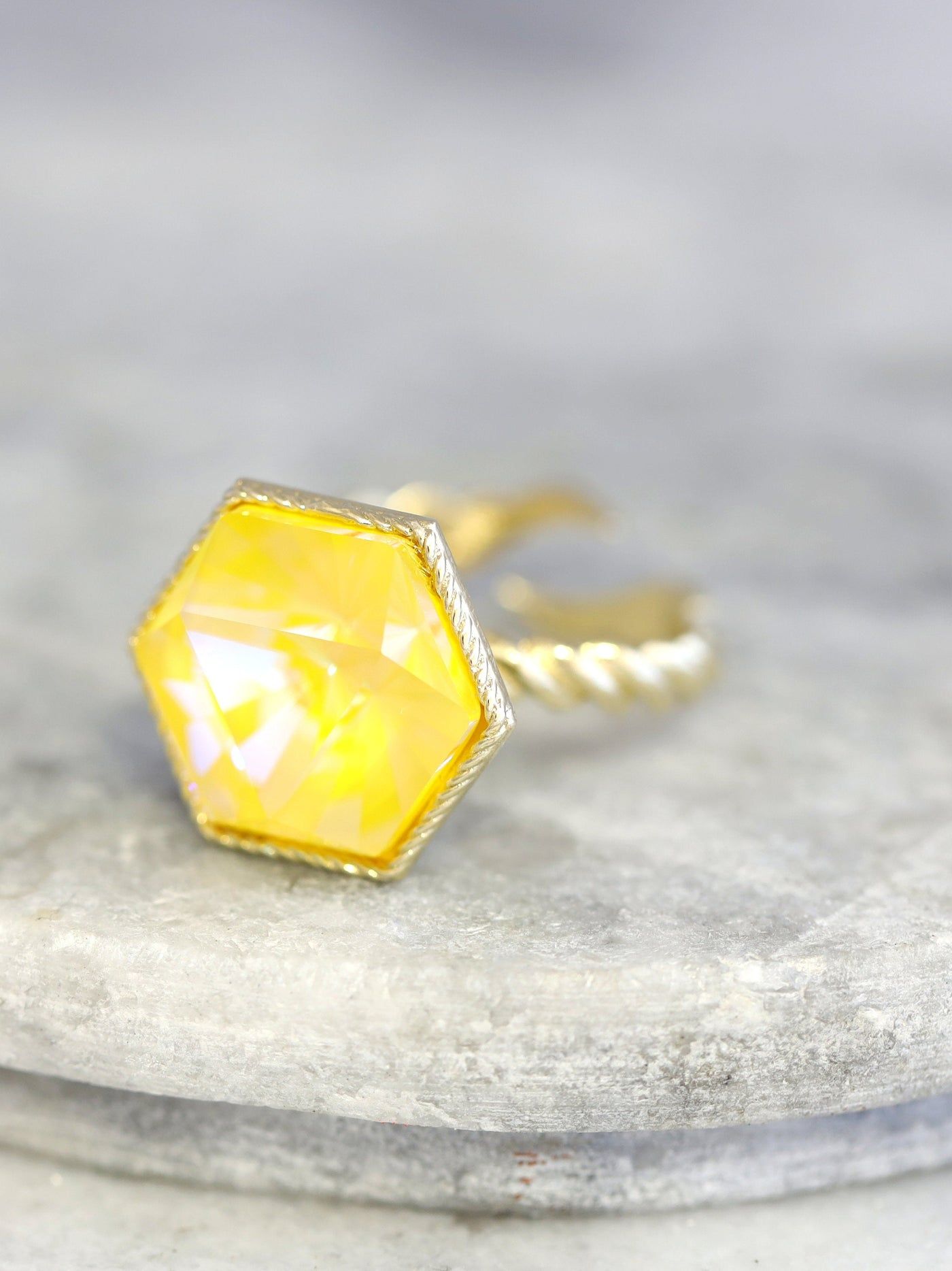 Romi Yellow Crystal Swarovski Cocktail Ring