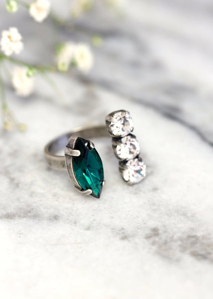 Marquize Emerald Crystal Swarovski Cocktail Ring