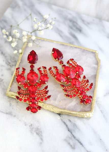 Lobster Red Crystal Swarovski Statement Chandelier Earrings