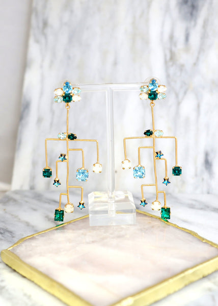 Gamora Blue Green Crystal Swarovski Chandelier Earrings