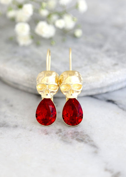 Skull Gold  Earrings, Ruby Red Drop Earrings, Sugar Skull Gold Earrings, Gothic Wedding Earrings, Ruby Red Crystal Earrings, Christmas Gifts