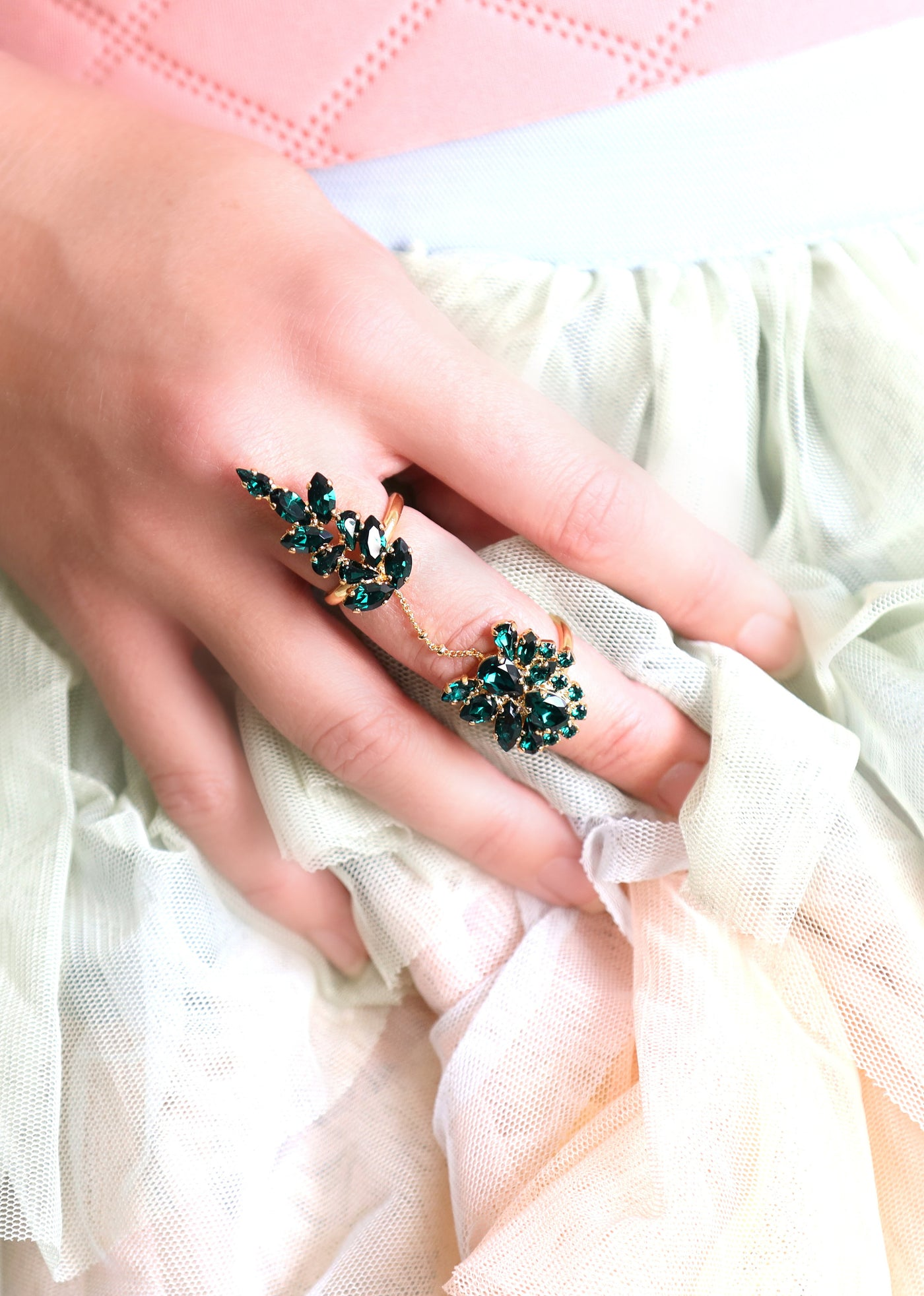 Kate Emerald Crystal Swarovski Cocktail Ring