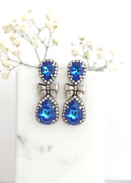 Bow Ocean Blue Crystal Swarovski Chandelier Earrings