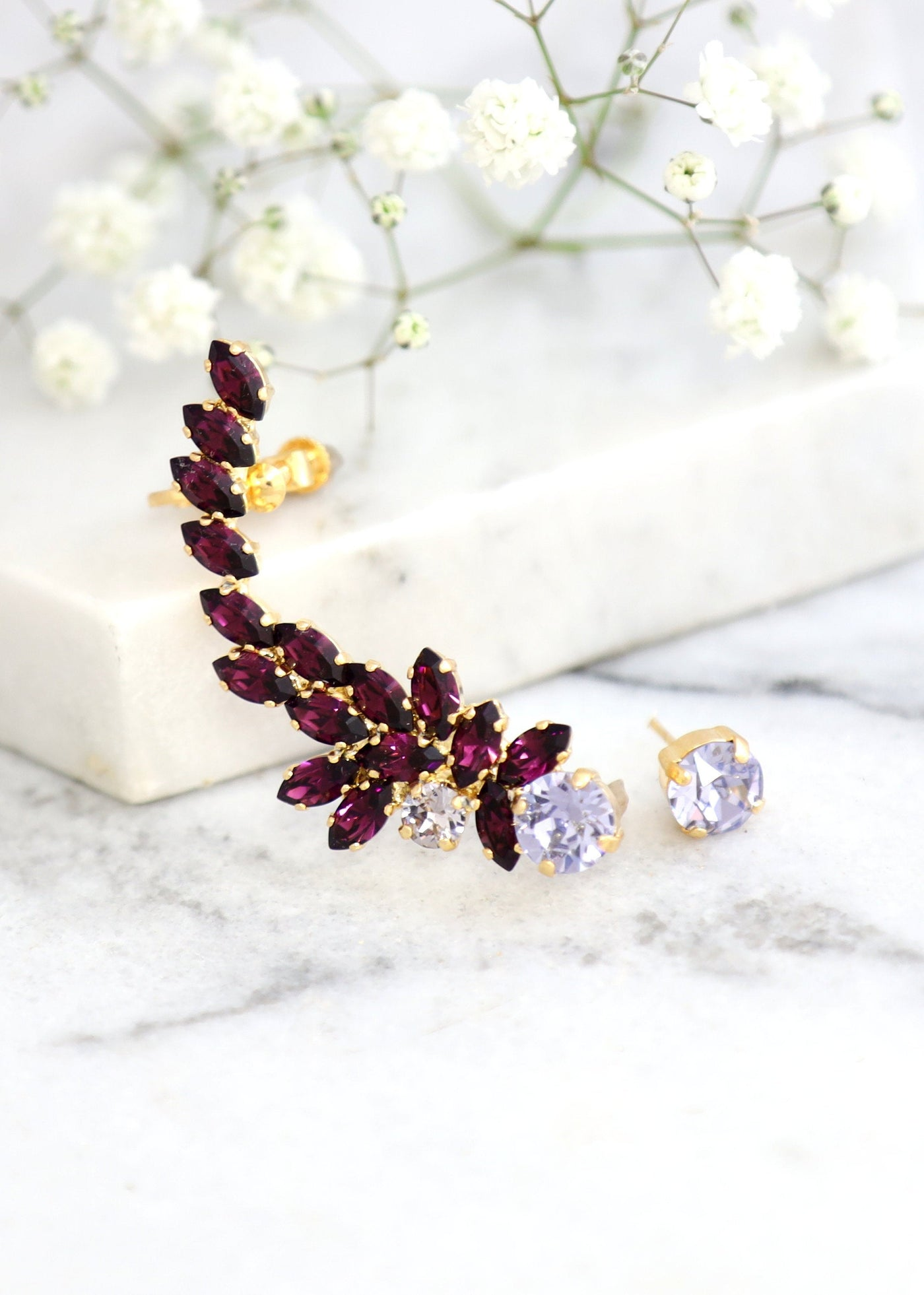 Madelen Purple Crystal Swarovski Climbing Earrings
