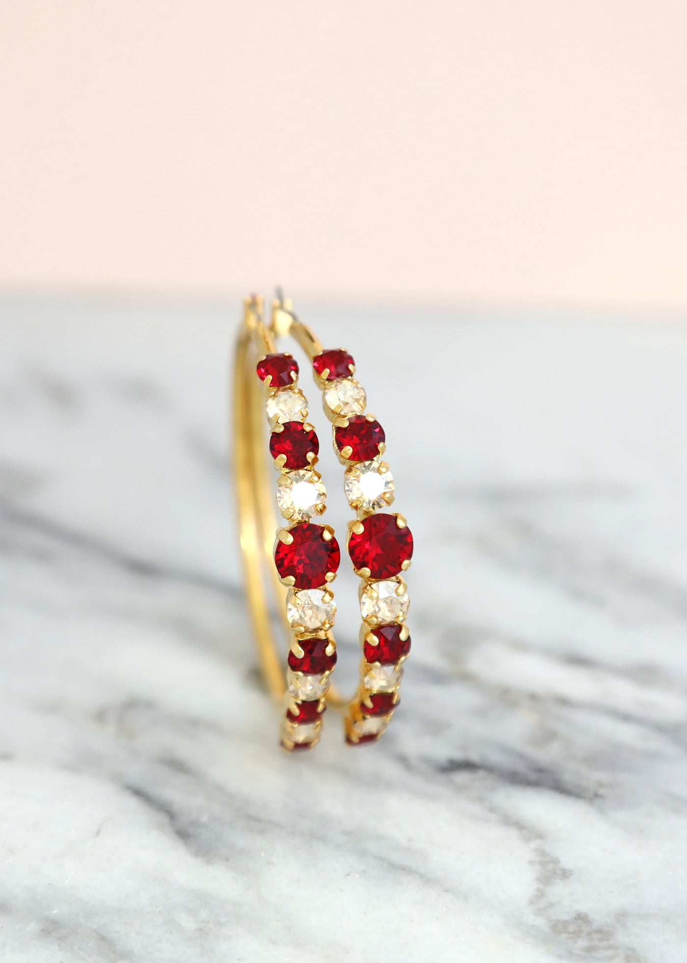 Brooke Ruby Champagne Crystal Swarovski Hoop Earrings