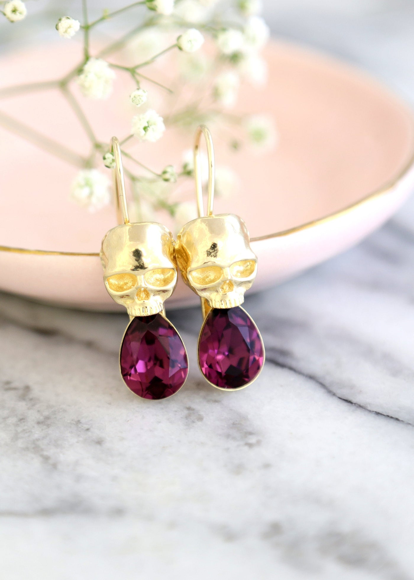 Skull Drop Amethyst Crystal Swarovski Dangle Drop Earrings