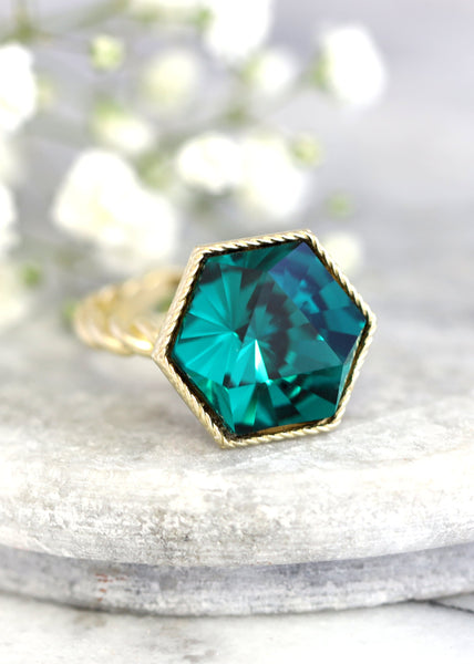 Romi Emerald Crystal Swarovski Cocktail Ring