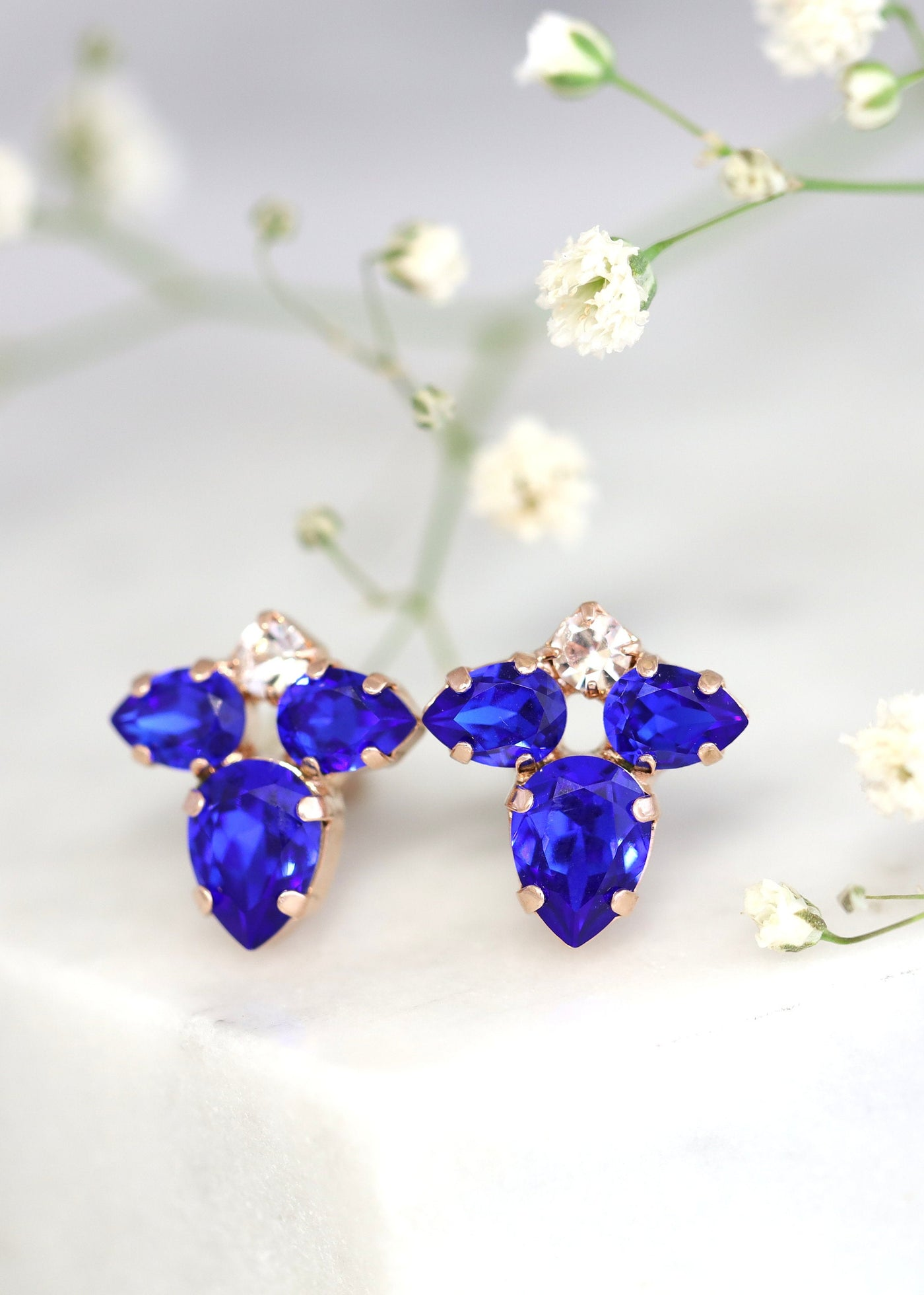 Hazel Sapphire Crystal Swarovski Cluster Earrings