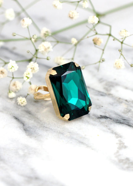 Ada Emerald Crystal Swarovski Big Cocktail Ring