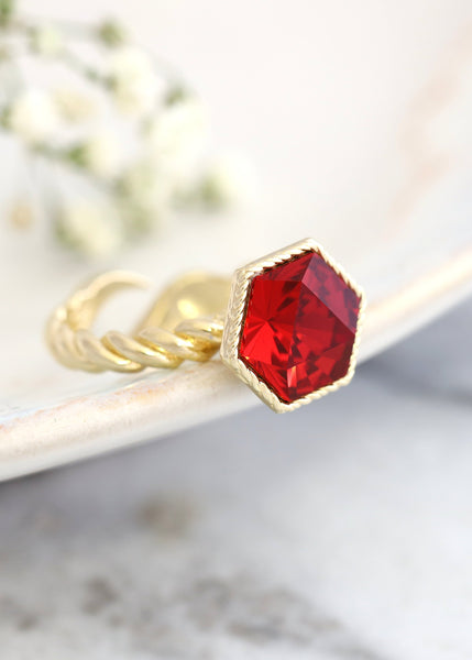 Romi Red Scarlet Crystal Swarovski Cocktail Ring