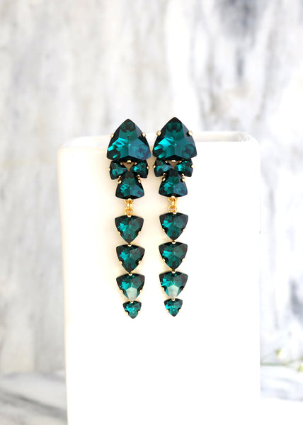 Poli Emerald Crystal Swarovski Chandelier Earrings