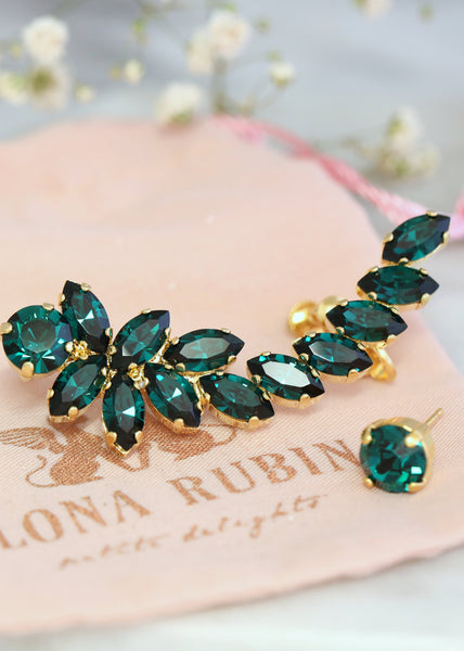 Sofia Emerald Crystal Swarovski Climbing Earrings