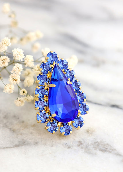Queen Sapphire Blue Crystal Swarovski Cocktail Ring