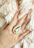 Queen White Pearl Blush Pink Crystal Swarovski Cocktail Ring