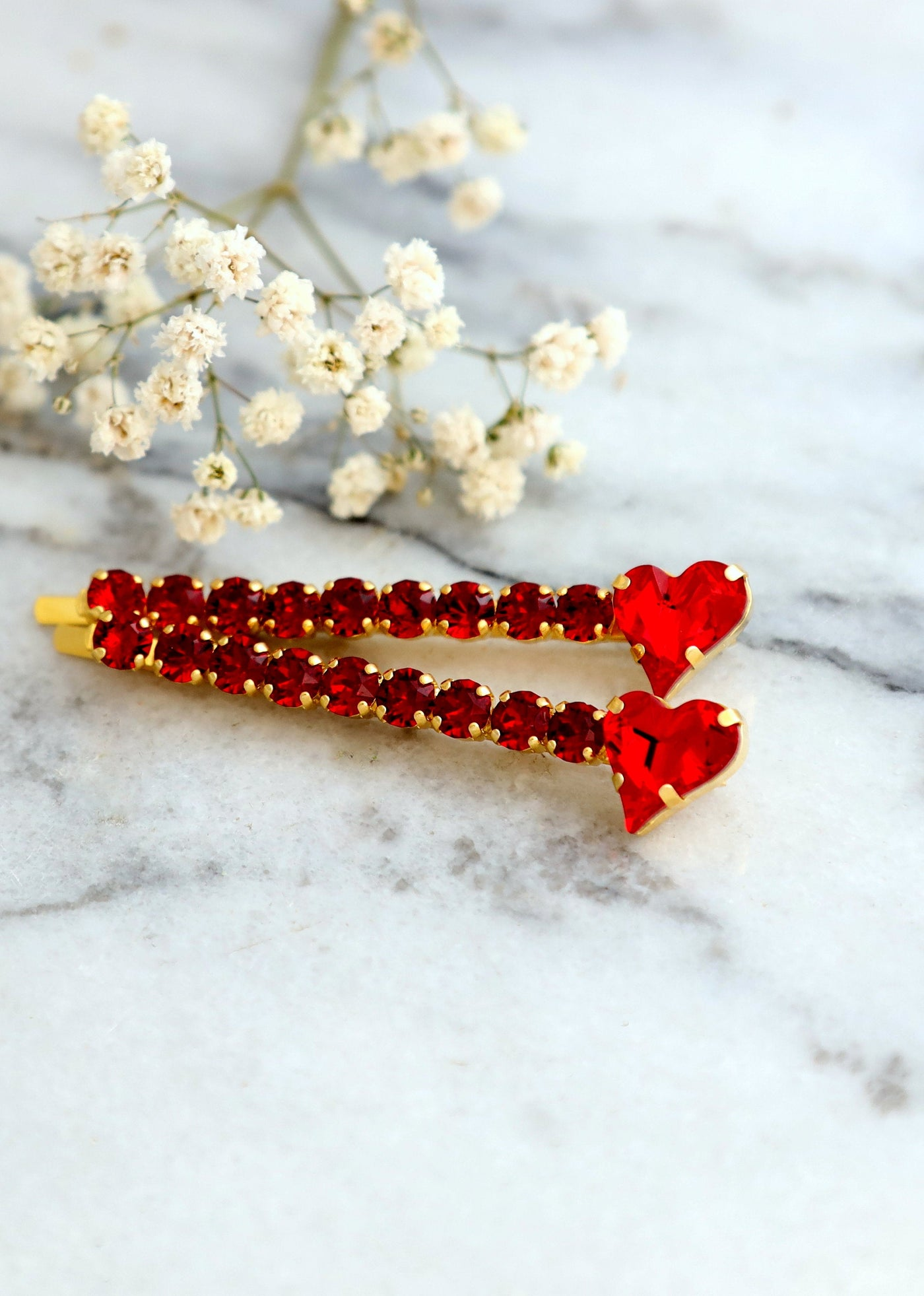 Heart Red Rubi Crystal Swarovski Bobby Pins
