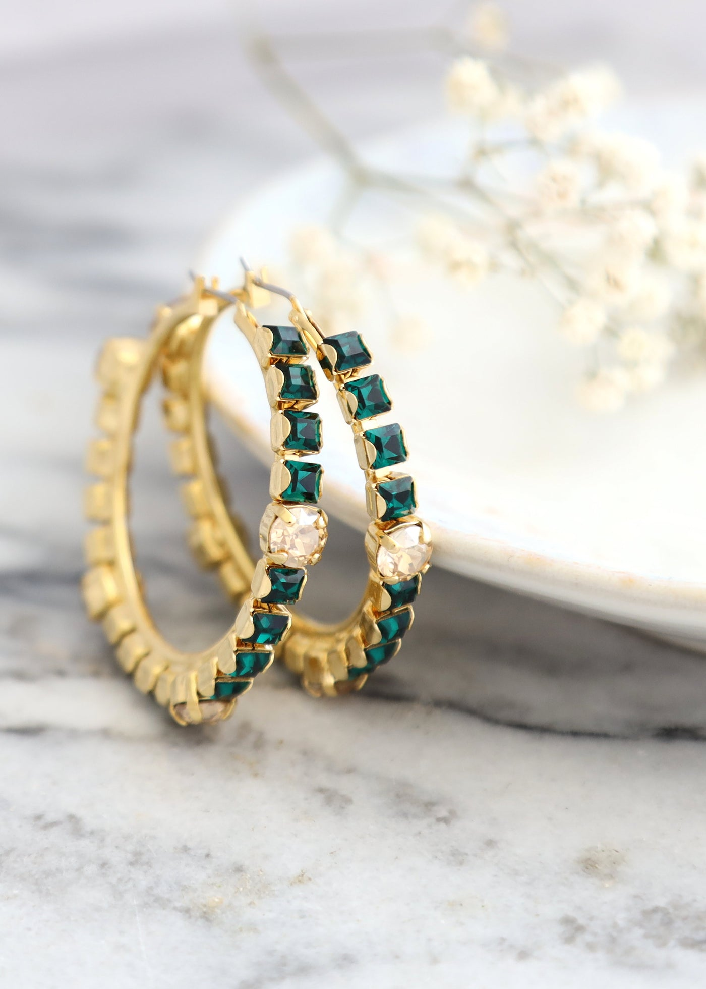Emerald Earrings, Green Hoop Swarovski Earrings, Oversize Hoop Earrings, Emerald Hoop Earrings, Green Statement Hoop Earrings, Gift For Her