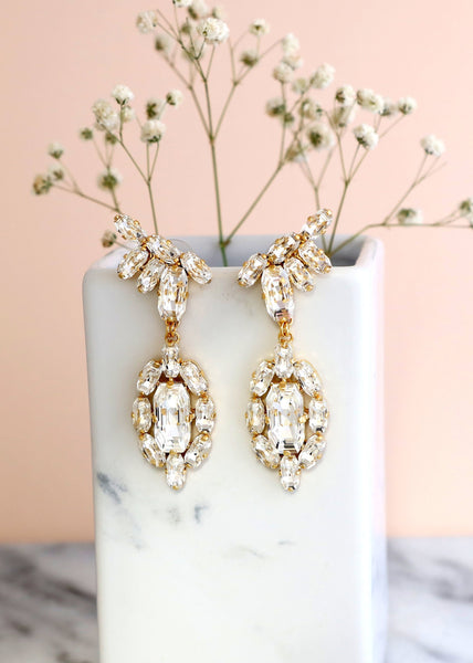 Daria Clear Crystal Swarovski Chandelier Earrings
