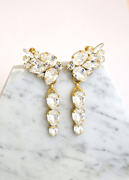 Jessica Clear Crystal Swarovski Climbing Earrings
