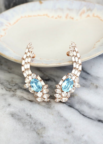 Neta Aquamarine Crystal Swarovski Climbing Earrings