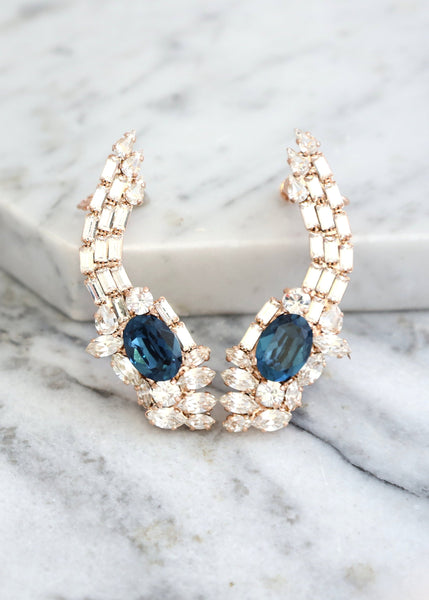 Neta Blue Navy Crystal Swarovski Climbing Earrings