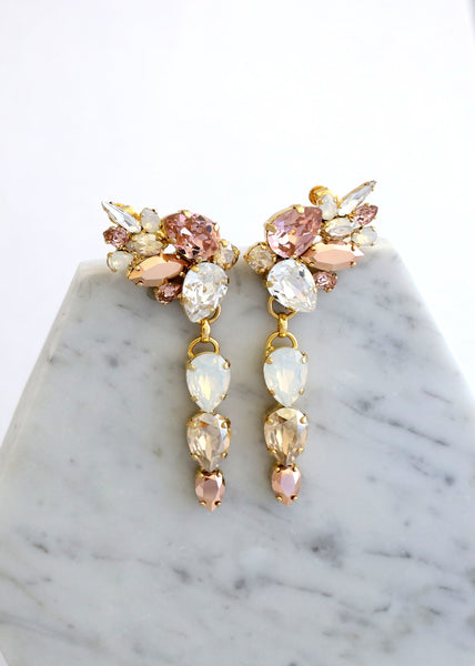 Jessica Blush Rose Gold Crystal Swarovski Climbing Earrings