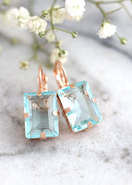 Aquamarine Clear Crystal Drop Emerald Cut Earrings, Bridal Blue Light Earrings