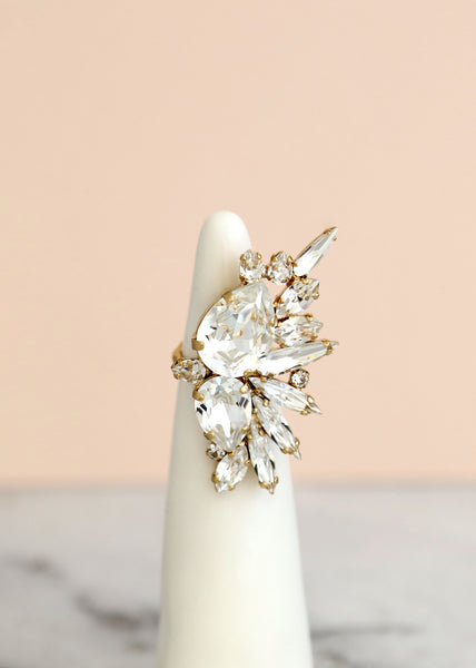 Andrea Clear Crystal Swarovski Cocktail Ring