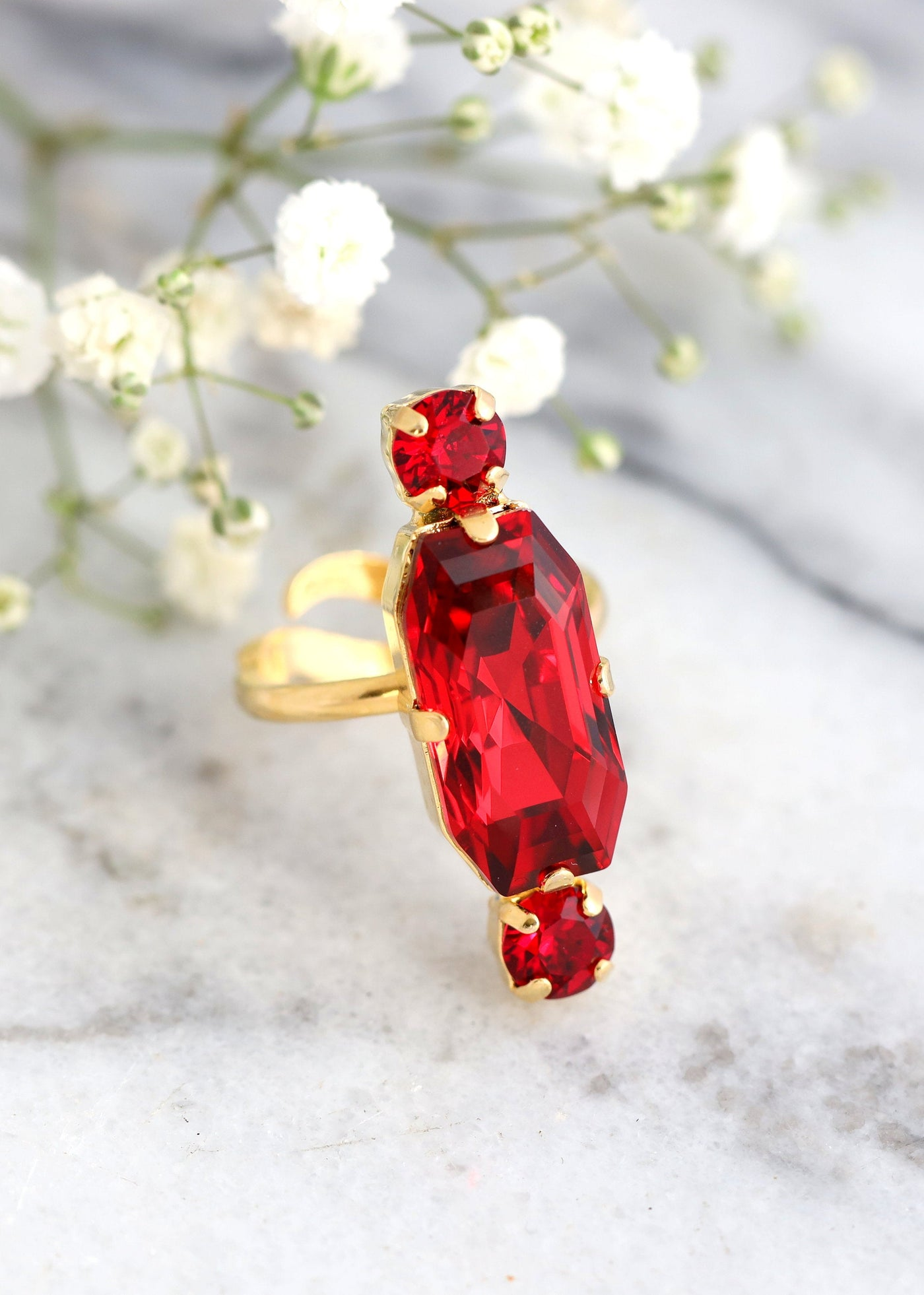 Laura Red Ruby Crystal Swarovski Cocktail Ring
